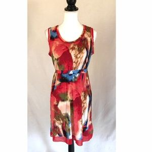 Simply Vera Wang Red Watercolor Microfiber Dress